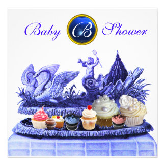 BLUE CHARIOT OF SWANS / CUPCAKES BOY BABY SHOWER CUSTOM INVITE