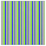 [ Thumbnail: Blue, Chartreuse & Dark Grey Pattern of Stripes Fabric ]