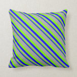 [ Thumbnail: Blue, Chartreuse & Dark Grey Pattern of Stripes Throw Pillow ]