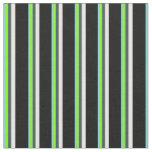 [ Thumbnail: Blue, Chartreuse, Slate Gray, Mint Cream & Black Fabric ]