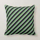 [ Thumbnail: Blue, Chartreuse, Slate Gray, Mint Cream & Black Throw Pillow ]