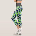 [ Thumbnail: Blue, Chartreuse, White & Black Stripes Pattern Leggings ]