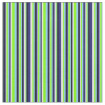 [ Thumbnail: Blue, Chartreuse, White & Black Stripes Pattern Fabric ]