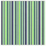 [ Thumbnail: Blue, Chartreuse, White & Black Stripes Pattern Fabric ]