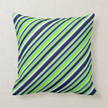 [ Thumbnail: Blue, Chartreuse, White & Black Stripes Pattern Throw Pillow ]