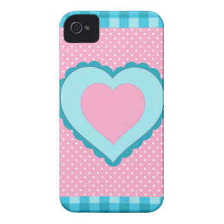 blue check, pink polka dots and heart pattern iPhone 4 Case-Mate case