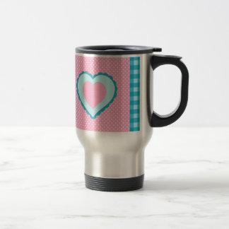 blue check, pink polka dots and heart pattern travel mug