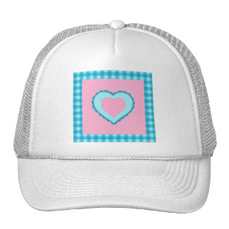 blue check, pink polka dots and heart pattern trucker hat