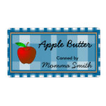 Blue Checked Apple Custom Canning Labels