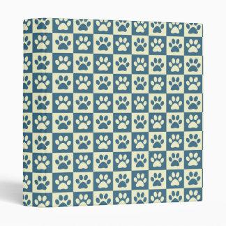 Blue Checker Paw Pattern 3 Ring Binder