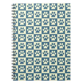 Blue Checker Paw Pattern Spiral Notebook