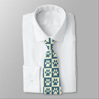 Blue Checker Paw Pattern Tie