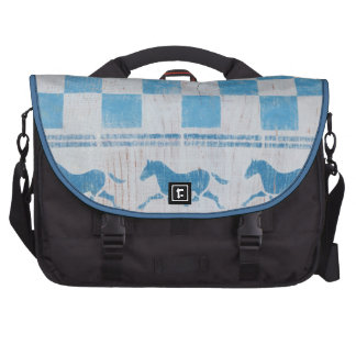 Blue checkerboard horses commuter bags