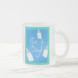 Blue Checkerboard It's A Boy! Frosted Glass Coffee Mug