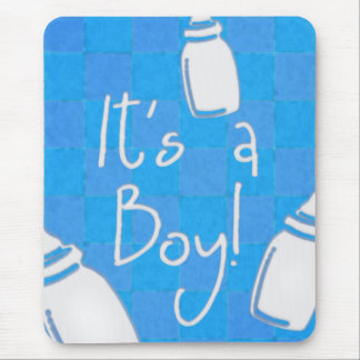 Blue Checkerboard It's A Boy! Mouse Pad