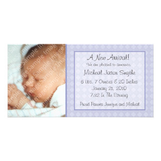 Blue Checkerboard New Baby Photo Card