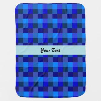 Blue checkerboard pattern stroller blanket