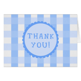 Blue Checkerboard Squares THANK YOU Cards