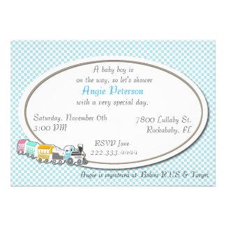 Blue Checkered Baby Boy Shower Invitation