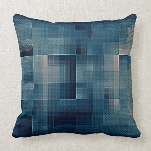 Blue Checkered & Dots Throw Pillow