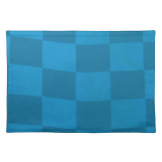 blue checkered flag cloth placemat