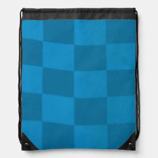 Blue Checkered Flag Drawstring Backpack