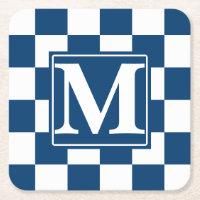 Blue Checkered Monogram Square Paper Coaster