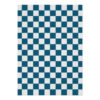 Blue Checkered Pattern Poster