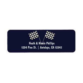 Blue & Checkered Racing Flag Party Address labels