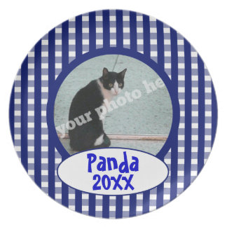 Blue Checkers Custom Photo Pet Cat Keepsake Plate