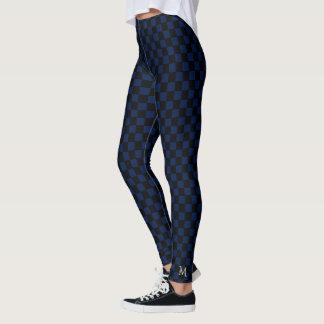 Blue Checks Checkered Pattern Monogram Full Length Leggings