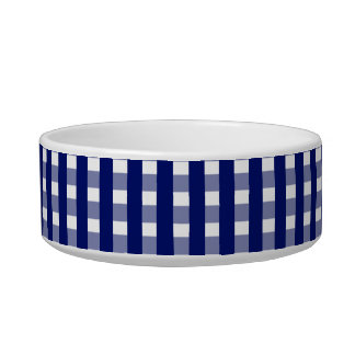 Blue Checks Pattern Ceramic Pet Bowl