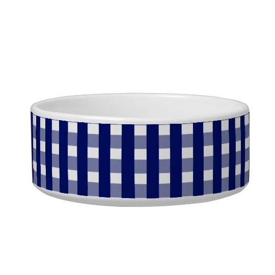 Blue Checks Pattern Ceramic Pet Bowl