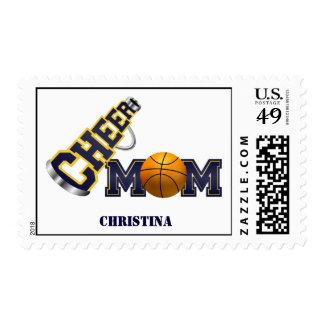 Blue Cheer Mom Basketball Postage Stamp