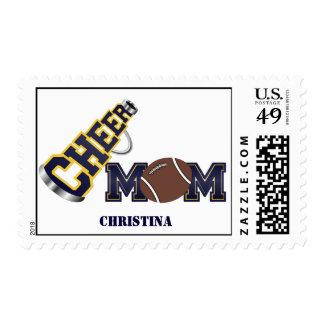 Blue Cheer Mom Football Postage Stamp