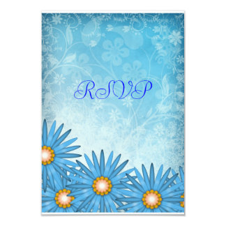 Blue Cheerful Wedding RSVP Reply Notes 3.5x5 Paper Invitation Card