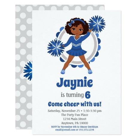 Blue Cheerleader - African American Birthday Invitation