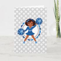 Blue Cheerleader African American  - Cute Cheer Card