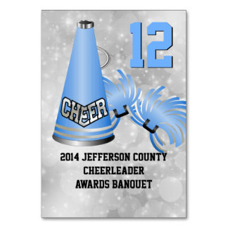 Blue Cheerleader Banquet Table Number Card