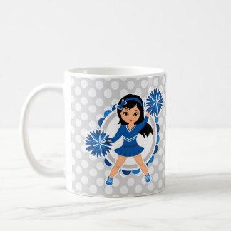 Blue Cheerleader Black Hair - Cute Cheer Coffee Mug