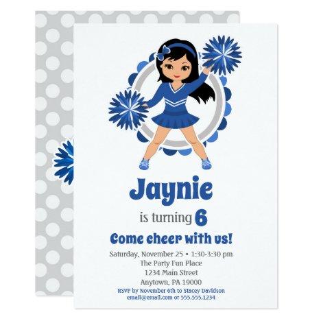 Blue Cheerleader Black Hair Girls Cheer Birthday Invitation