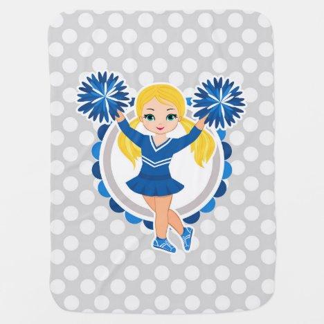 Blue Cheerleader Blonde - Cute Cheer Baby Blanket