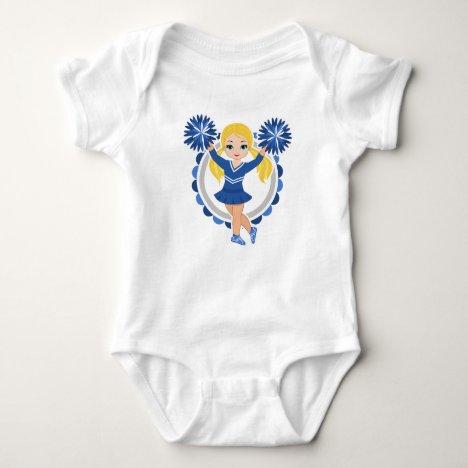 Blue Cheerleader Blonde - Cute Cheer Baby Bodysuit