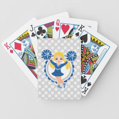 Blue Cheerleader Blonde - Cute Cheer Bicycle Playing Cards