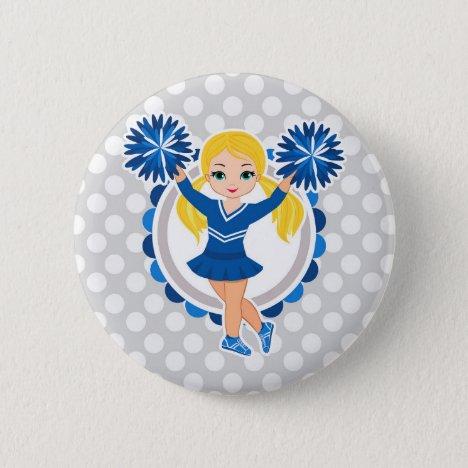 Blue Cheerleader Blonde - Cute Cheer Button