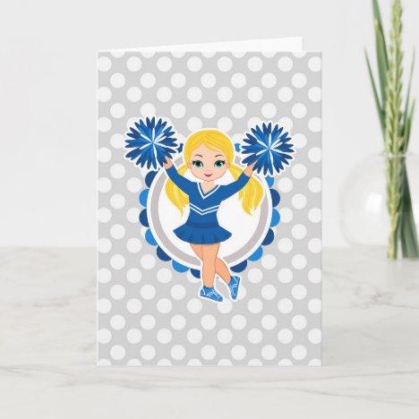 Blue Cheerleader Blonde - Cute Cheer Card