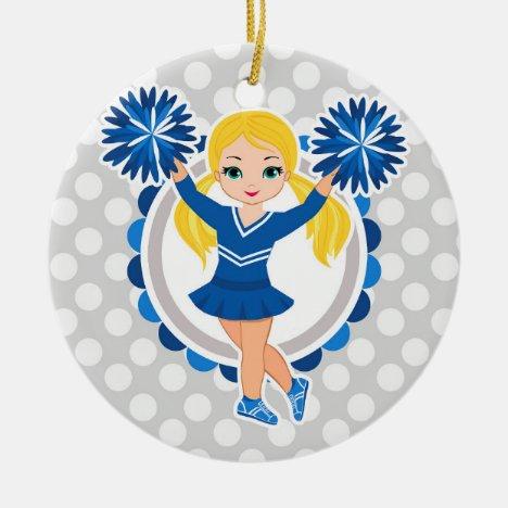 Blue Cheerleader Blonde - Cute Cheer Ceramic Ornament