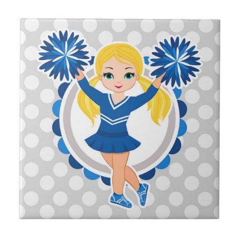 Blue Cheerleader Blonde - Cute Cheer Ceramic Tile