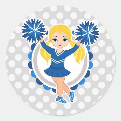 Blue Cheerleader Blonde - Cute Cheer Classic Round Sticker