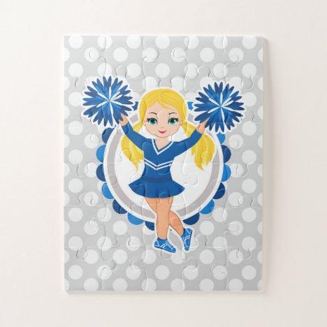 Blue Cheerleader Blonde - Cute Cheer Jigsaw Puzzle